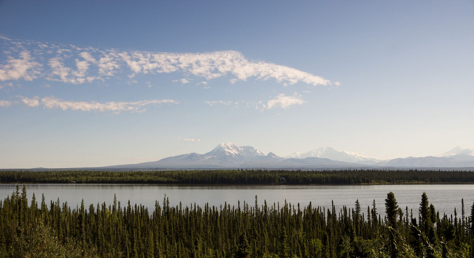 Wrangell-St. Elias National Park from Willow Lake, Alaska, USA