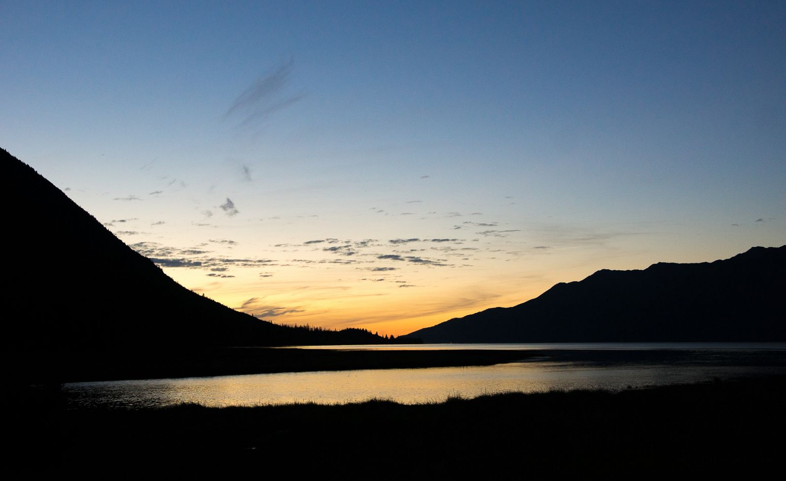 Sunset over Porcupine Creek, Hope, Alaska, USA