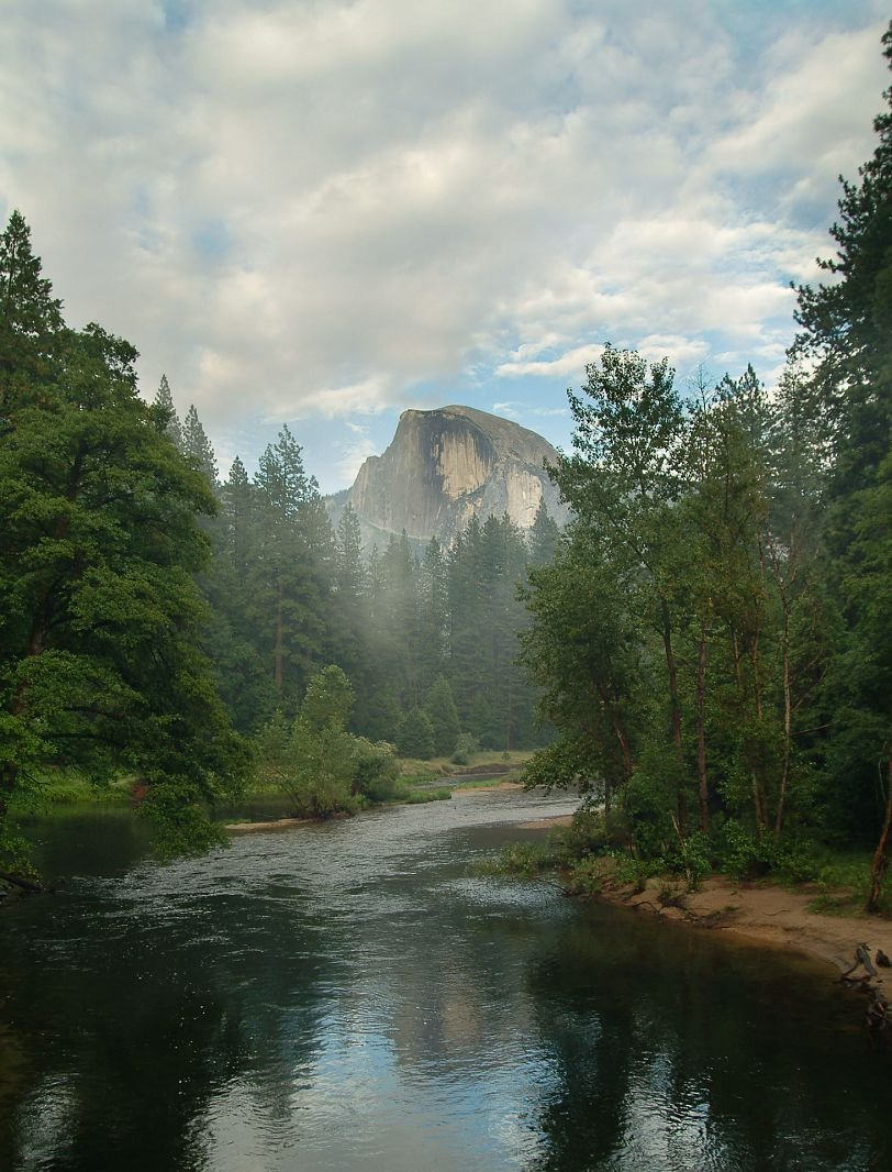 Half Dome and Merced River from Sentinel Bridge, Yosemite NP, California, USA