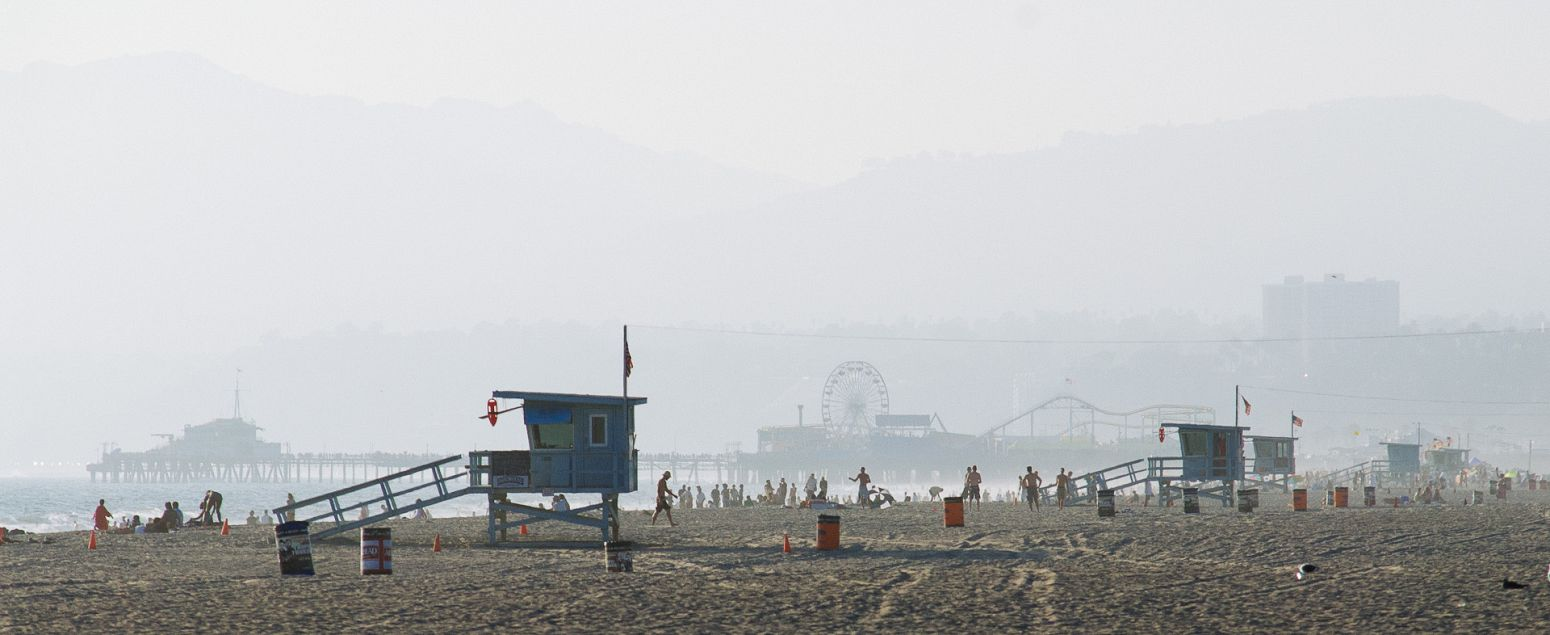 Venice beach, with Sanata Monica Pier in the background, Los Angeles, California, USA