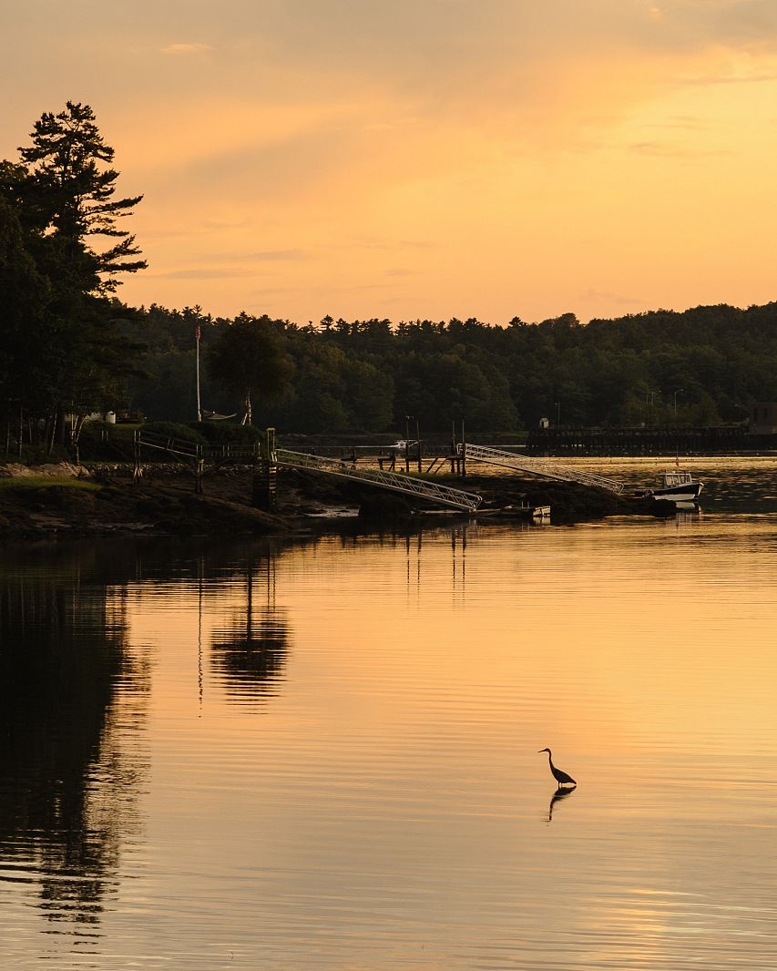 Sunset over Sheepscot River, Lincoln County, Maine, USA