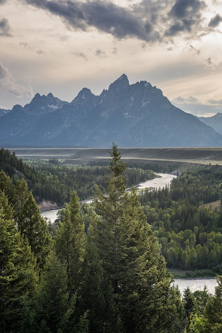 Grand Teton range from Snake River Overlook, Grand Teton NP, Wyoming, USA