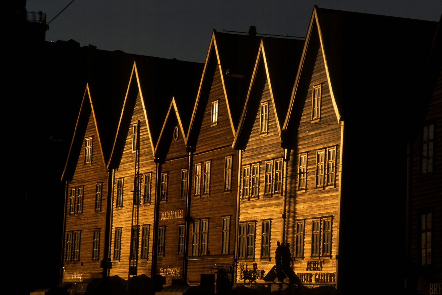 Old wood buildings in Bryggen, Bergen, Norway