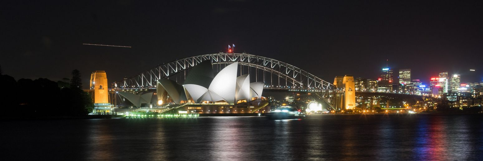 Sydney Opera House and Sydney Harbour Bridge from Royal Botanic Gardens, Sydney, Australia