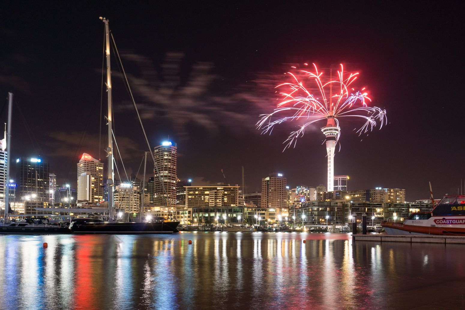 New Year's eve fireworks in Auckland, New Zealand